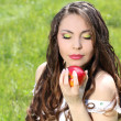 Beautyful woman present apples.Go to you on the Nature — Stock Photo #6649577