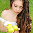 Beautyful woman present apples.Go to you on the Nature — Stock Photo #6649695