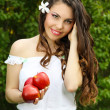 Beautyful woman present apples.Go to you on the Nature — Stock Photo #6649712