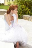 Pretty lady in a white wedding dress. marriageable girl. Outdoor — Stock Photo