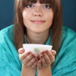 Stock Photo: Tea drinking with beautiful woman
