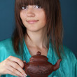 Tea ceremony with beautiful young woman — Stock Photo #6667246