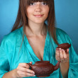 Tea ceremony with beautiful young woman — Stock fotografie