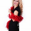 Royalty-Free Stock Photo: Smiling Blond woman posing with jabot posing on white background