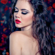 Sexy lady red lips hairstyle — Stock Photo
