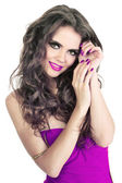 Make up of beauty young lady with care hands with purple nails — Stock Photo