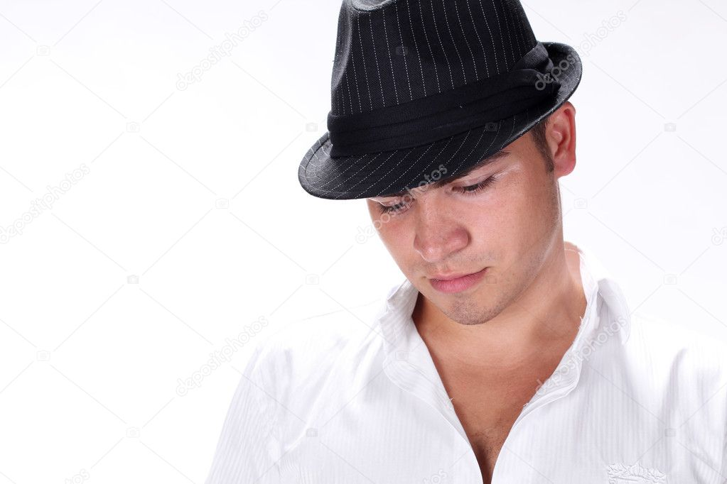 Portrait handsome fashion man in hat  posing on white background — Stock Photo #6669433