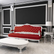 Red leather sofa, table, lamp, furry rug. Luxurious furniture in - Stock Photo