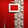 Empty foto frame on decorative wallpaper in red modern interior. — Stock Photo #6670028
