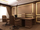 Modern interior. Office space. Wooden furniture in Luxurious apa — Stock Photo