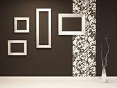 Showroom. siyah duvar dekorasyonu ile boş çerçeveler — Stok fotoğraf