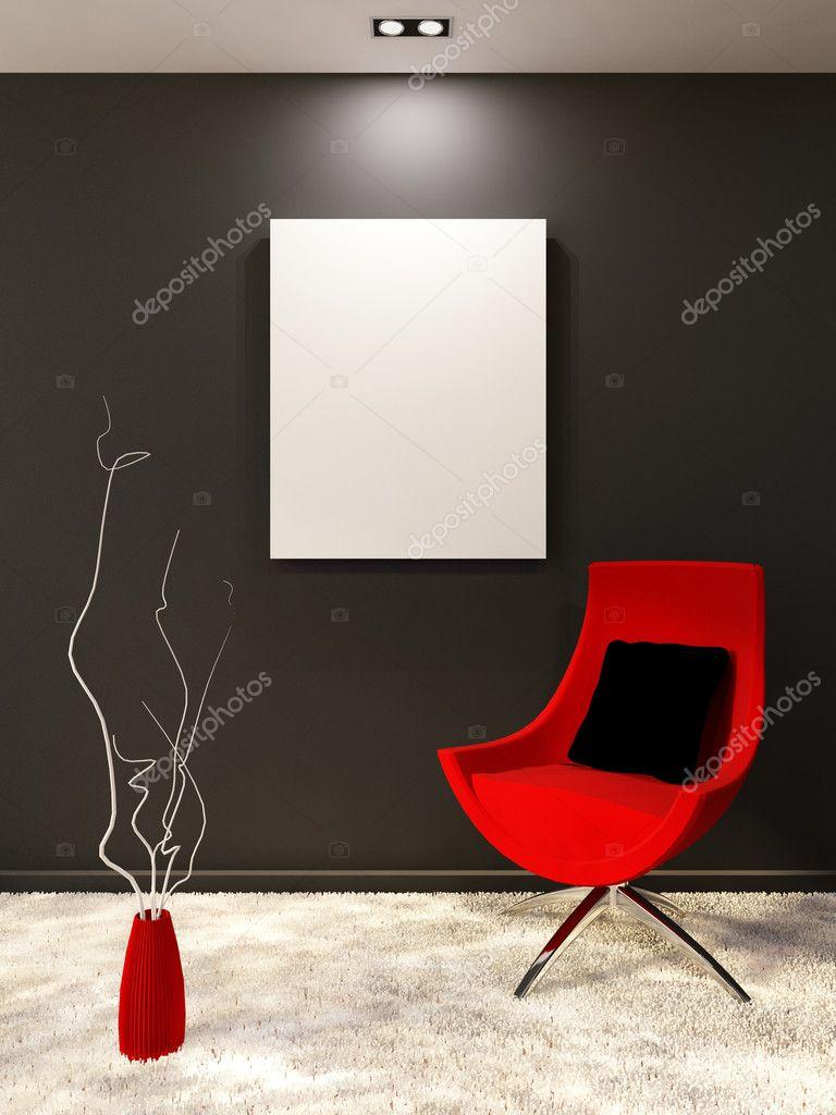 Rode fauteuil met kussen en wit leeg op de zwarte muur in mi ...
