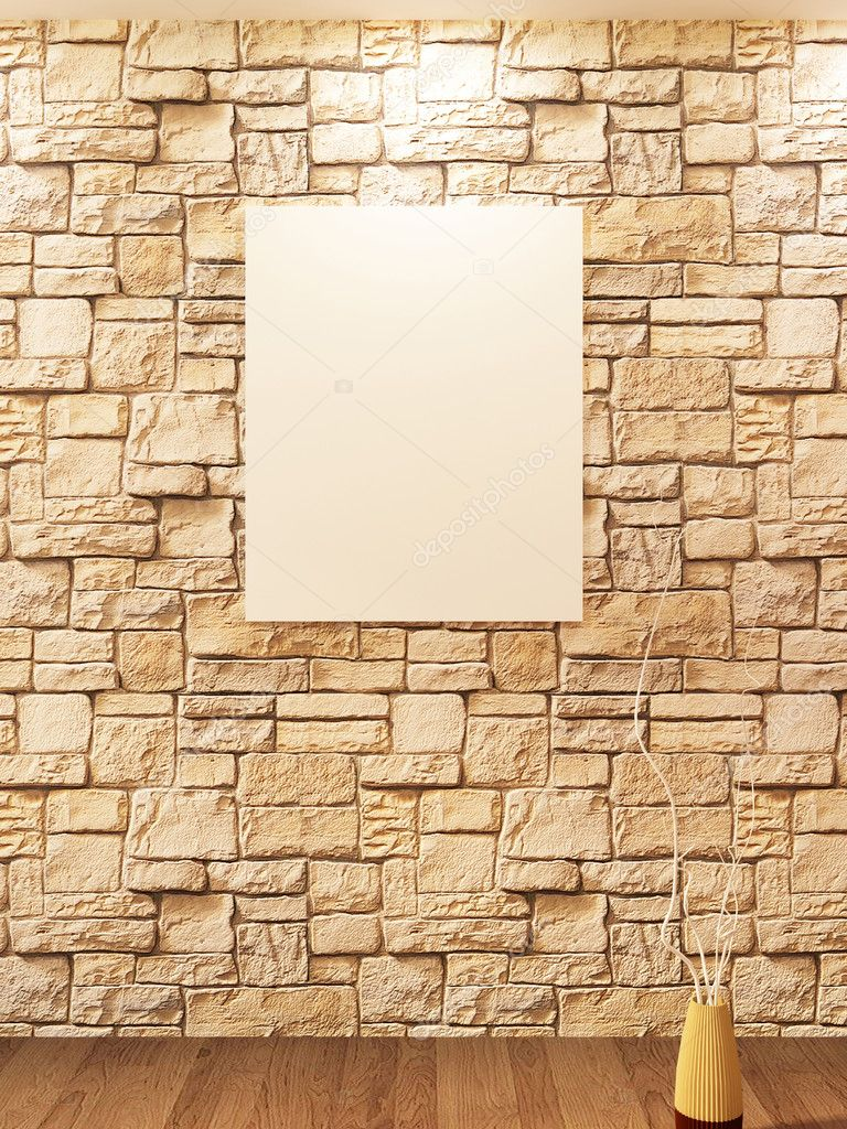 Vuoto sul muro di pietra mattoni e vaso decorativo su un parquet ...