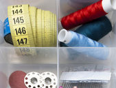 Thread, spools, needles, meter for tailor — Stock Photo