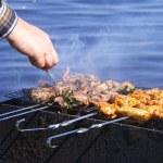 Постер, плакат: Chicken and lamb on grill
