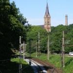 Постер, плакат: Railway road and church
