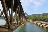 Rail Road Truss and Vehicle Bridge — Stock Photo