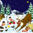 Children and reindeer Rudolph the night of Christmas. — Stock Vector