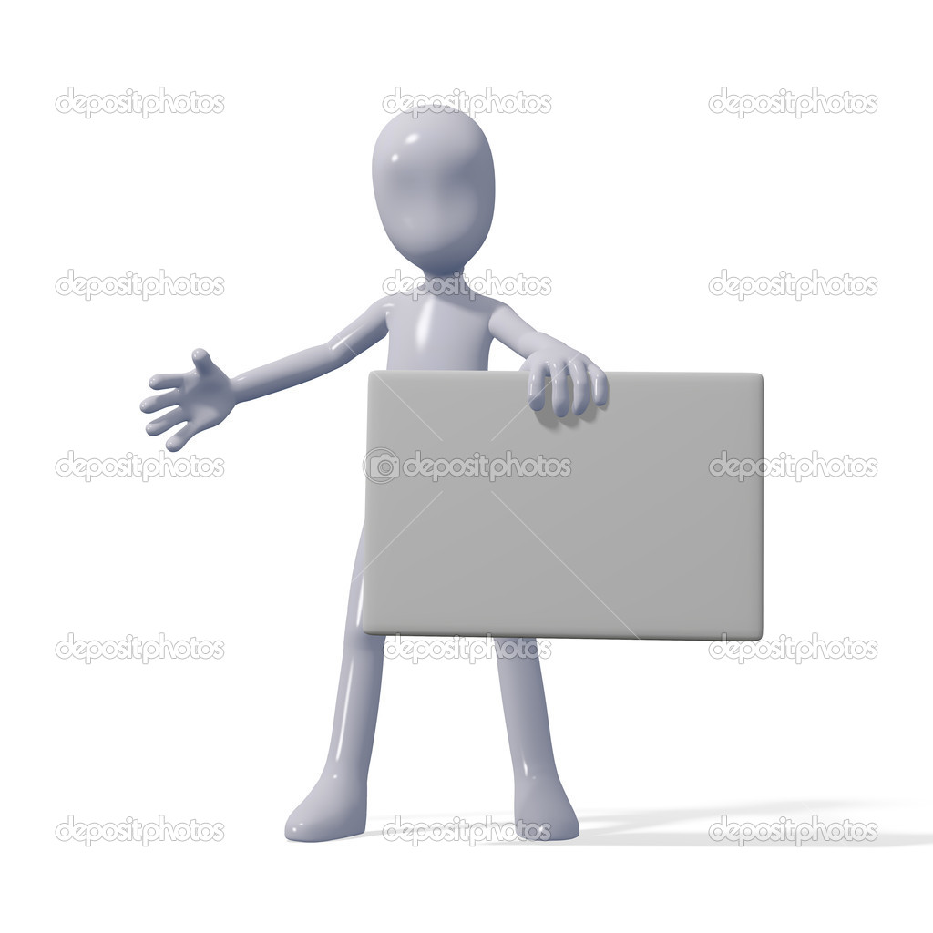 A man holds a blank. White background — Stock Photo #5511829