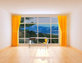 Room with a panorama and transparent table — Stock Photo