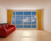 Room with a panorama and red sofa — Stock Photo