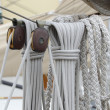 Stock Photo: Cordage and pulleys on old sailing boat