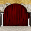 Old stone wall with an arch, columns, wooden beams and curtain — Stock Photo
