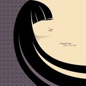 Portrait of gorgeous girl with long black hair. Place for your text. Vector — Stock Photo