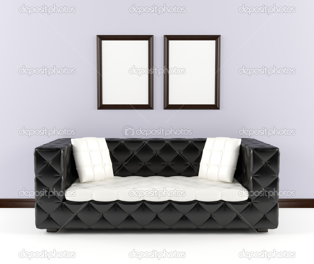 download black leather sofa with pillows in the interior stock