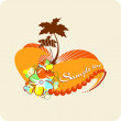 Tropical background. Vector palms, flowers, heart, sun. — Stock Vector