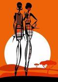 Die modischen afrikanischen mädchen, die stilvoll gekleidet ist — Stockvektor