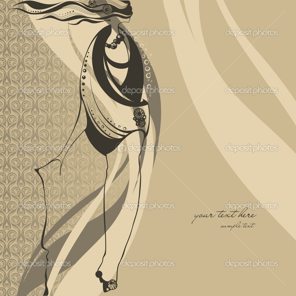 Fashion illustration girl  — Stock Vector #6731644