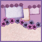 Page with lilac elements and flowers — Stock Photo