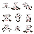 Cute Cow Set — Stock Vector