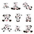 Cute Cow Set — Stock Vector