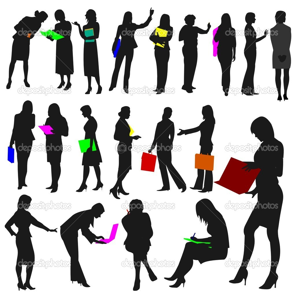 Set of women at work silhouettes holding bright coloured items — Vektorgrafik #5623085