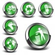 3d Green Icons Set 01 — Stock Vector