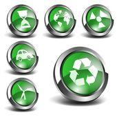 3d zelené ikony nastavit 02 — Stock vektor