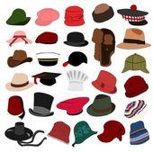 şapka bir sürü 04 ayarla — Stok Vektör