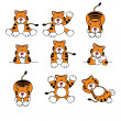 Cute Tiger Cartoon Set — Stock Vector