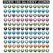 Stock Vector: Over 100 Glossy Icons