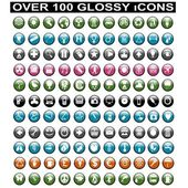Over 100 Glossy Icons — Stock Vector