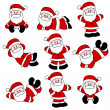 9 Festive Cute Santa Set for Christmas — Stock Vector
