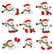 Cute Christmas Snowman Collection — Stock Vector