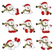 Cute Christmas Snowman Collection - Stock Vector
