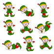 Xmas Cute Elf Set — Stock Vector