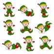 Stock Vector: Xmas Cute Elf Set