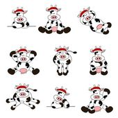 Cute Christmas Cow Set — Stock Vector