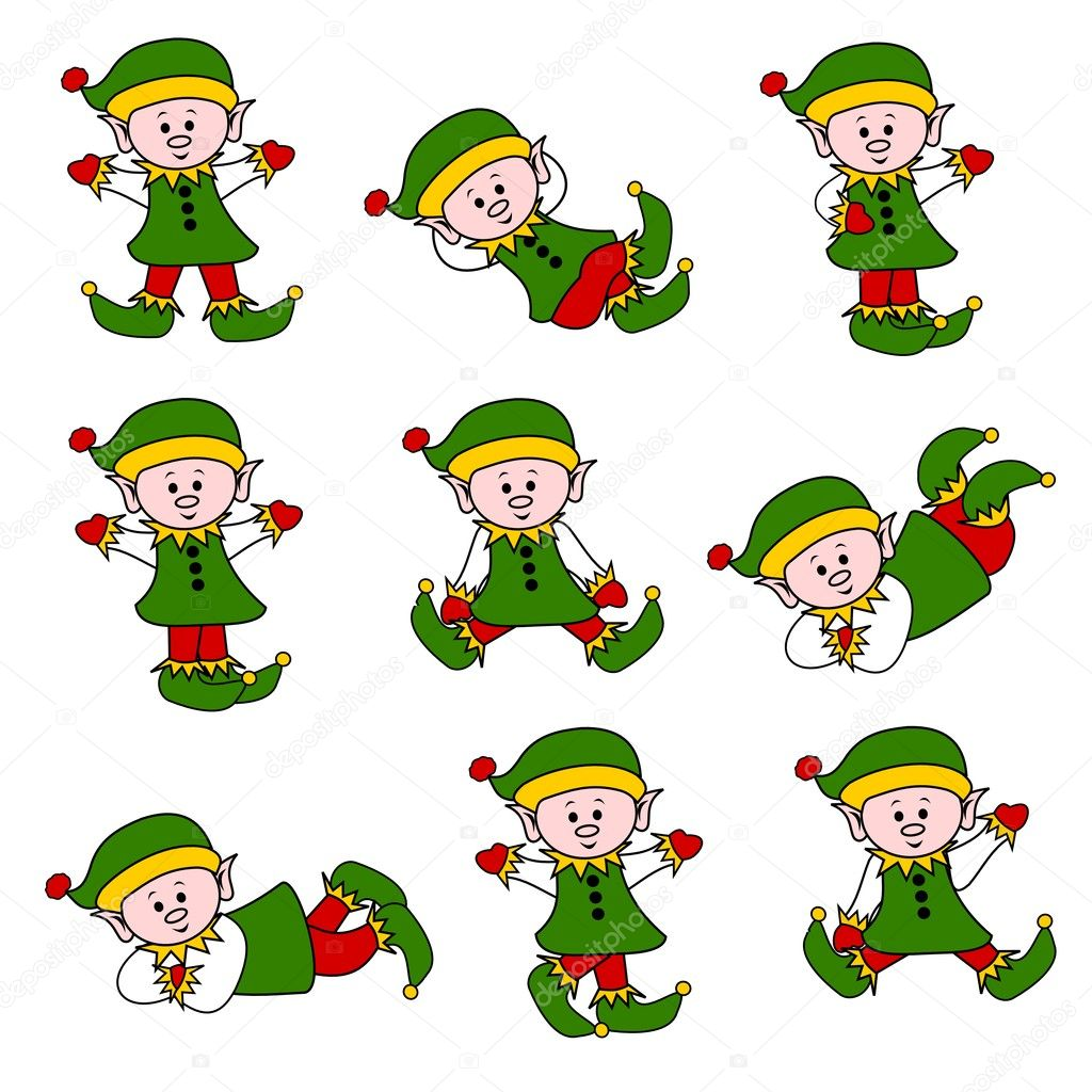 Elves positions cartoon scenes