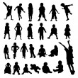 Lots of Children and Babies Silhouettes — Vettoriali Stock
